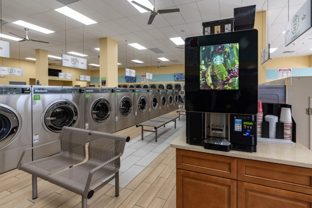 Metropolitan Machinery commercial laundry equipment in a Laundromat